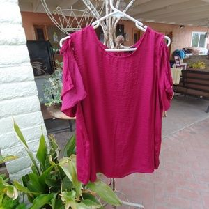 WHO WHAT WHERE BLOUSE, Cold Shoulder Tie Sleeve XL